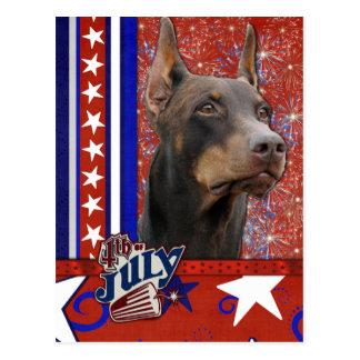 July 4th Firecracker - Doberman - Red - Rocky Postcard
