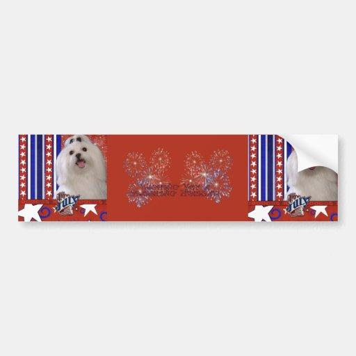 July 4th Firecracker - Maltese Bumper Stickers