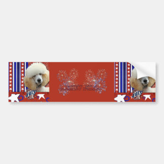 July 4th Firecracker - Poodle - Apricot Car Bumper Sticker