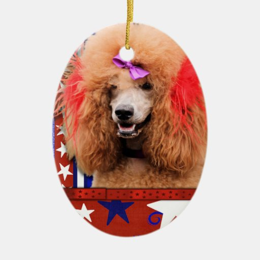 July 4th Firecracker - Poodle - Red Ceramic Oval Decoration