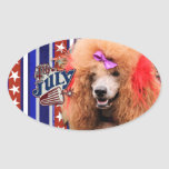 July 4th Firecracker - Poodle - Red Oval Sticker