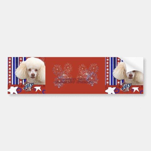 July 4th Firecracker - Poodle - White Bumper Sticker