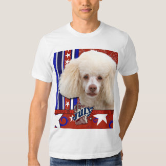 July 4th Firecracker - Poodle - White Tee Shirt