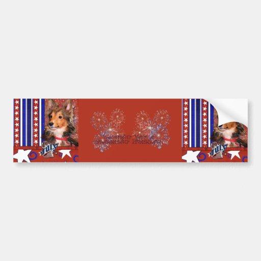 July 4th Firecracker - Sheltie Puppy - Cooper Bumper Sticker