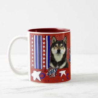 July 4th Firecracker - Shiba Inu - Yasha Two-Tone Coffee Mug