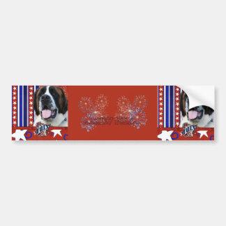 July 4th Firecracker - St Bernard - Mae Bumper Sticker