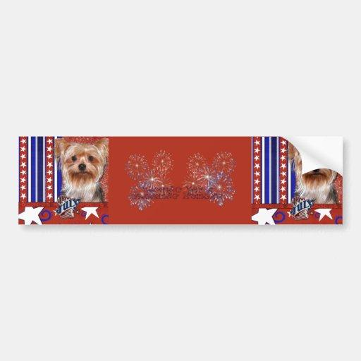 July 4th Firecracker - Yorkshire Terrier Bumper Stickers