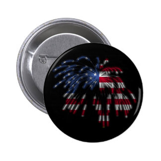July 4th Fireworks & the American Flag in Lights 6 Cm Round Badge