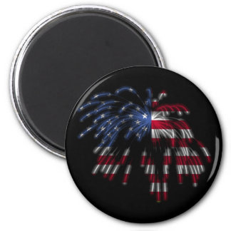July 4th Fireworks & the American Flag in Lights 6 Cm Round Magnet