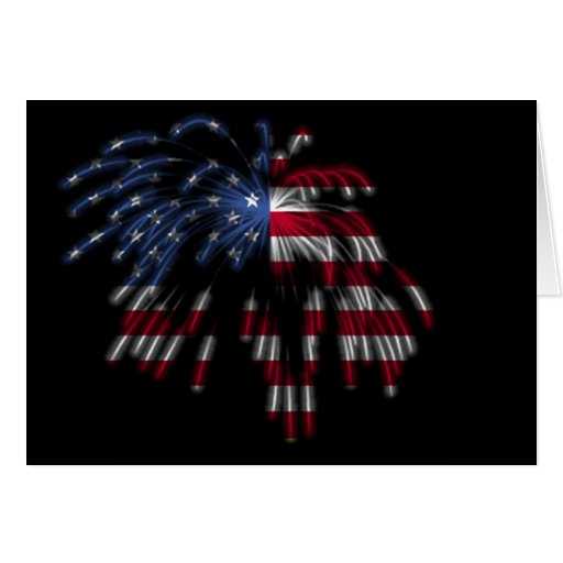 July 4th Fireworks & the American Flag in Lights Card