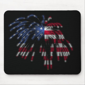 July 4th Fireworks & the American Flag in Lights Mouse Mat
