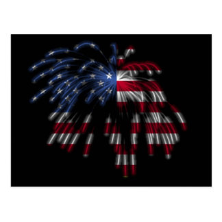July 4th Fireworks & the American Flag in Lights Post Cards