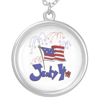 July 4th, Flag, Fireworks Round Pendant Necklace