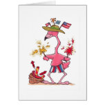 July 4th Flamingo Fireworks notecard Note Card