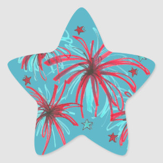 July 4th Fourth USA Blue Star Fireworks Stickers