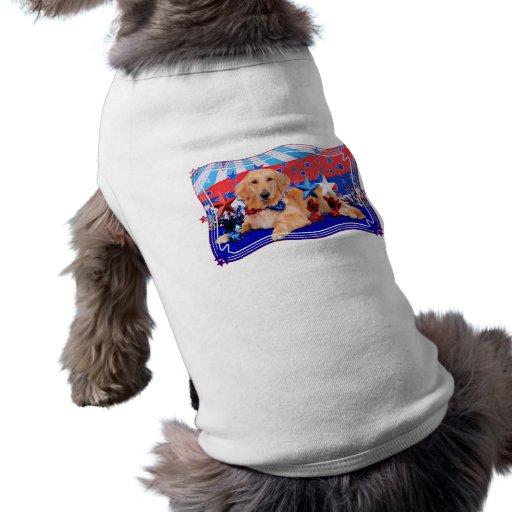 July 4th - Golden Retriever - JJ Dog Tee Shirt