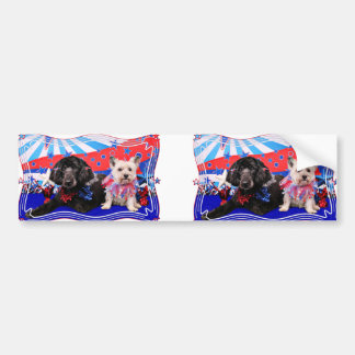 July 4th - GoldenDoodle Abby - Cairn Roxy Bumper Sticker