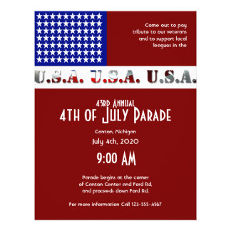July 4th Modern USA Flag Graphic 21.5 Cm X 28 Cm Flyer