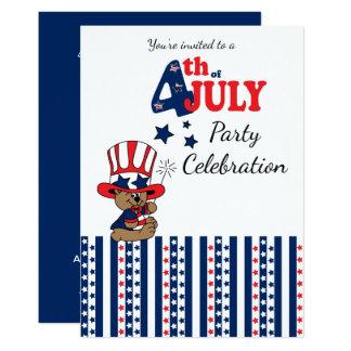 July 4th Party Celebration 13 Cm X 18 Cm Invitation Card