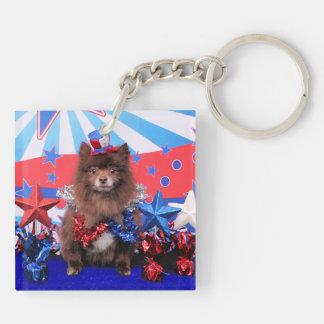 July 4th - Pomeranian - Fred Acrylic Key Chains