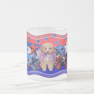 July 4th - Poodle - Lily Frosted Glass Mug