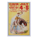 July 4th Rodeo, 1930. Vintage Advertising Poster