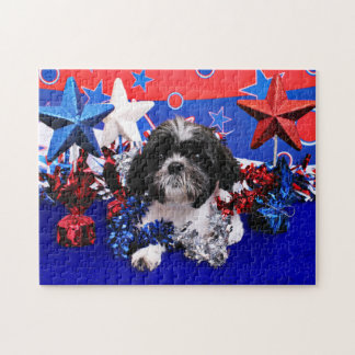 July 4th - Shih Tzu - Sadie Jigsaw Puzzle