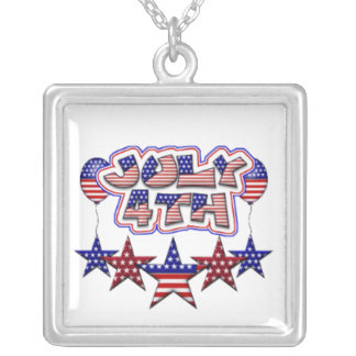 July 4th Stars Square Pendant Necklace