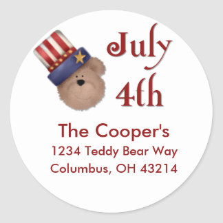 July 4th Teddy Bear Address Labels/Stickers Round Sticker