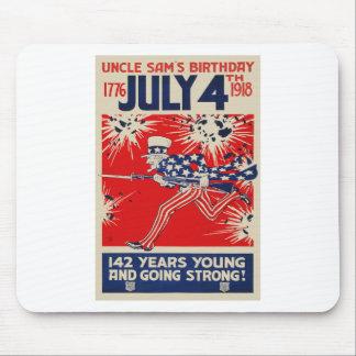 July 4th Uncle Sam's Birthday WWI Propaganda Mouse Pad