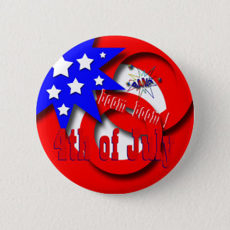 July 4th USA 6 Cm Round Badge