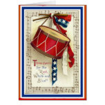 July 4th Vintage Marching Drum Red White & Blue Greeting Card