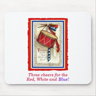 July 4th Vintage Marching Drum Red White & Blue Mouse Pad