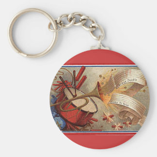 July 4th vintage yankee doodle basic round button key ring