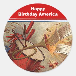 July 4th vintage yankee doodle round sticker