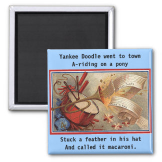 July 4th vintage yankee doodle square magnet