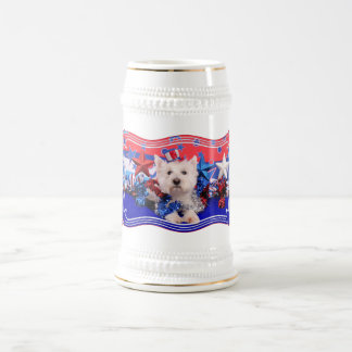 July 4th - Westie - Polo Beer Steins