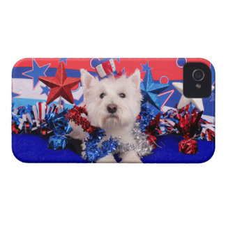 July 4th - Westie - Polo Case-Mate iPhone 4 Cases