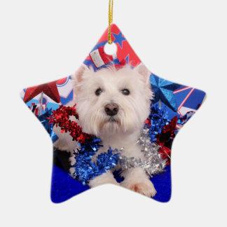July 4th - Westie - Polo Ceramic Star Decoration