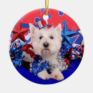 July 4th - Westie - Polo Christmas Ornaments