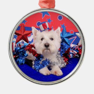 July 4th - Westie - Polo Christmas Tree Ornaments