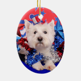 July 4th - Westie - Polo Christmas Ornament