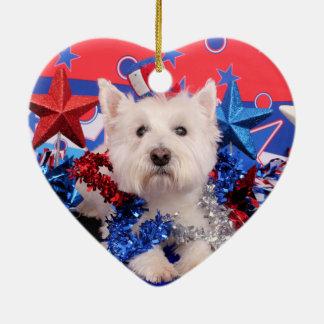 July 4th - Westie - Polo Christmas Tree Ornament