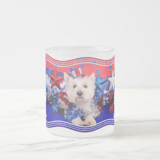 July 4th - Westie - Polo Frosted Glass Mug