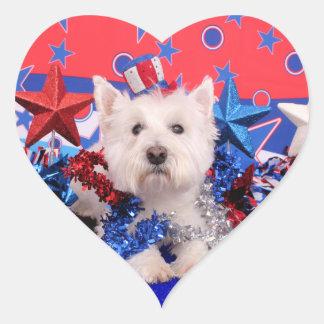 July 4th - Westie - Polo Heart Sticker
