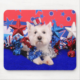 July 4th - Westie - Polo Mouse Pad