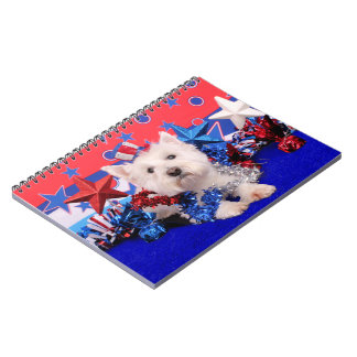 July 4th - Westie - Polo Spiral Notebooks