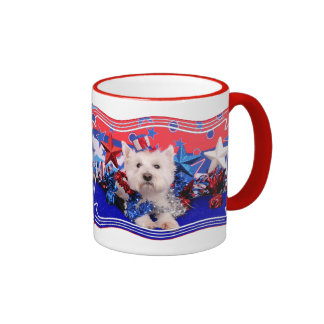 July 4th - Westie - Polo Ringer Mug