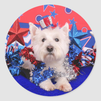 July 4th - Westie - Polo Round Sticker