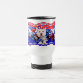 July 4th - Westie - Polo Stainless Steel Travel Mug